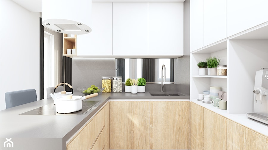 Kuchnia w bieli i drewnie  zdjęcie od MONOstudio -> Kuchnia W Bloku W Bieli
