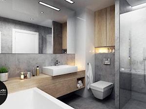 przestrzeń & światło - Średnia szara łazienka w domu jednorodzinnym, styl nowoczesny - zdjęcie od MONOstudio