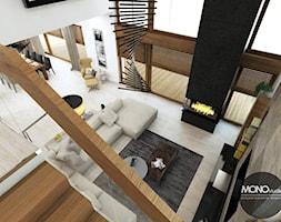 elegancja & nowoczesność - Duży biały salon z jadalnią z tarasem / balkonem z antresolą, styl nowoczesny - zdjęcie od MONOstudio
