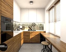 nowoczesność & ciepło - Średnia zamknięta wąska biała kolorowa kuchnia w kształcie litery l, styl nowoczesny - zdjęcie od MONOstudio