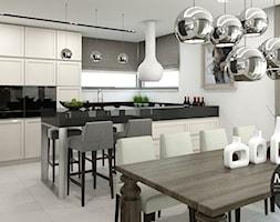 biel&elegancja - Średnia otwarta biała jadalnia w salonie, styl minimalistyczny - zdjęcie od MONOstudio - Homebook