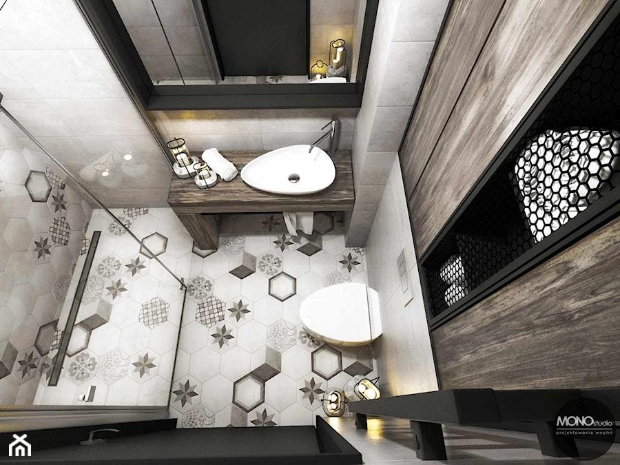 przestrzeń & faktura - Mała łazienka bez okna, styl vintage - zdjęcie od MONOstudio