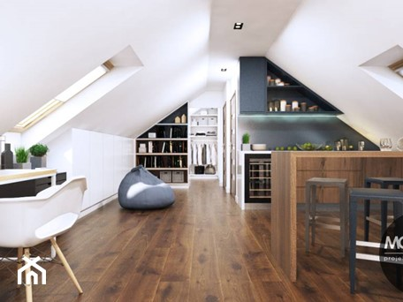 Aranżacje wnętrz - Kuchnia: Wnętrze na poddaszu - MONOstudio. Przeglądaj, dodawaj i zapisuj najlepsze zdjęcia, pomysły i inspiracje designerskie. W bazie mamy już prawie milion fotografii!