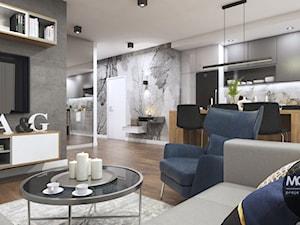 Kuchnia z salonem w nowoczesnym klimacie - zdjęcie od MONOstudio
