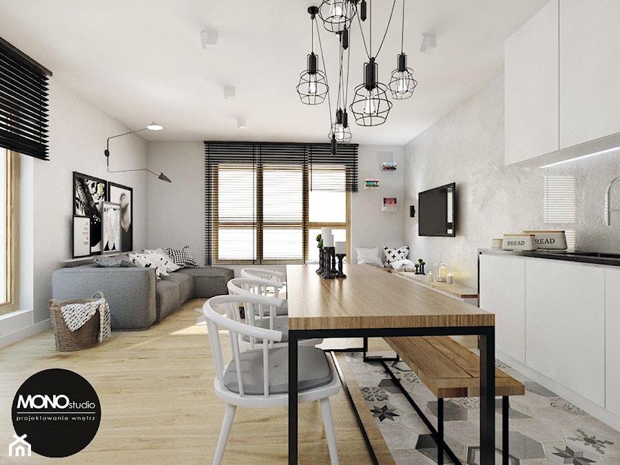 przestrzeń & światło - Średni beżowy salon z kuchnią z jadalnią, styl nowoczesny - zdjęcie od MONOstudio