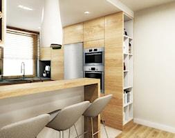 przestrzeń & faktura - Mała otwarta biała kuchnia w kształcie litery g w aneksie - zdjęcie od MONOstudio