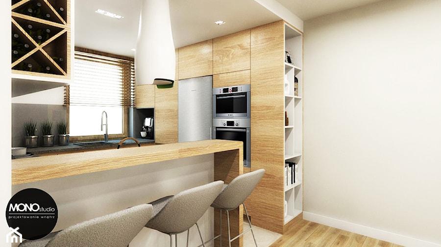 Aranżacje wnętrz - Kuchnia: przestrzeń & faktura - Mała otwarta biała kuchnia w kształcie litery g w aneksie - MONOstudio. Przeglądaj, dodawaj i zapisuj najlepsze zdjęcia, pomysły i inspiracje designerskie. W bazie mamy już prawie milion fotografii!