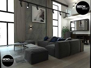 beton & faktura - Duży biały salon z antresolą, styl industrialny - zdjęcie od MONOstudio