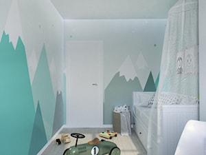 Nadmorskie klimaty - Mały szary zielony pokój dziecka dla chłopca dla ucznia dla malucha dla nastolatka, styl skandynawski - zdjęcie od Idea by Mag.