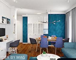 Verbel Soho Factory - Średni szary biały salon z bibiloteczką z kuchnią z jadalnią, styl nowoczesny - zdjęcie od Idea by Mag.