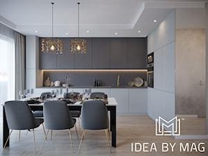 Szara elegancja - Średnia otwarta szara kuchnia w kształcie litery l w aneksie z oknem, styl nowoczesny - zdjęcie od Idea by Mag.