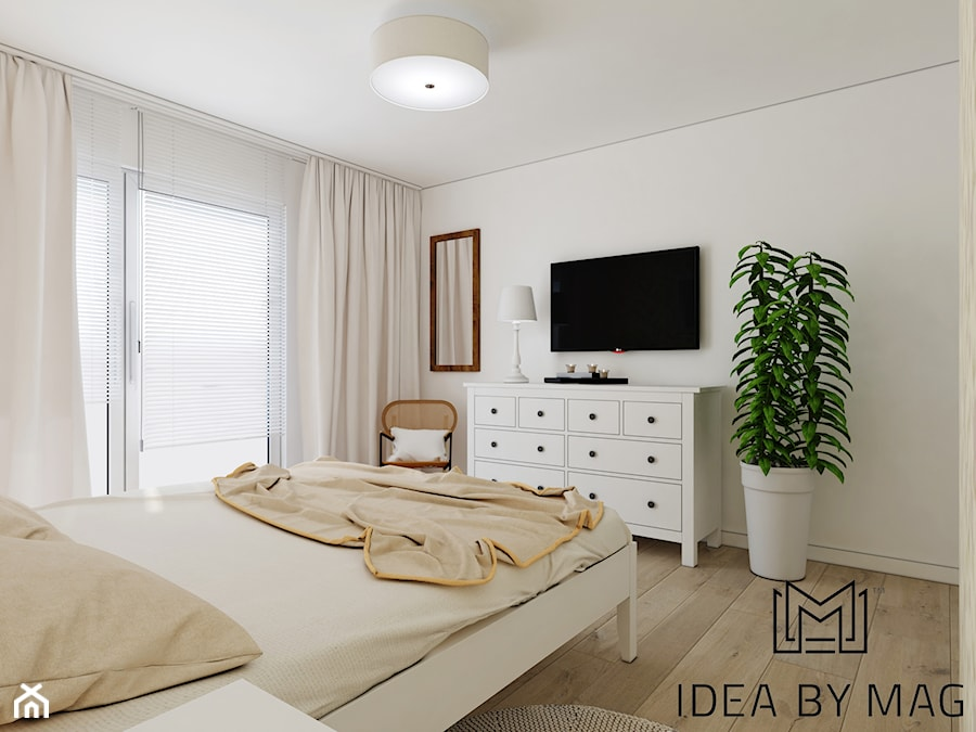 Prowansalskie marzenie - Średnia biała sypialnia małżeńska, styl prowansalski - zdjęcie od Idea by Mag.