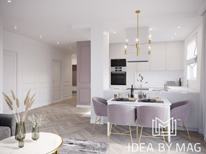 Kobiece wnętrze - Średni biały salon z kuchnią z jadalnią, styl klasyczny - zdjęcie od Idea by Mag.