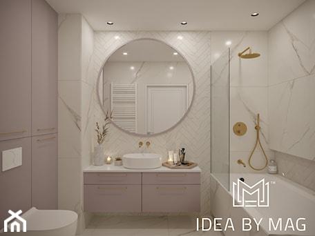 Aranżacje wnętrz - Łazienka: Kobiece wnętrze - Średnia biała szara łazienka bez okna, styl klasyczny - Idea by Mag.. Przeglądaj, dodawaj i zapisuj najlepsze zdjęcia, pomysły i inspiracje designerskie. W bazie mamy już prawie milion fotografii!