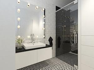 Nowoczesna wariacja. - Średnia biała czarna łazienka jako salon kąpielowy, styl nowoczesny - zdjęcie od Idea by Mag.
