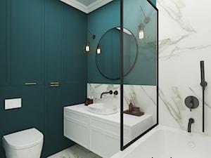 Marmur z dodatkiem koloru, połączenie idealne - Średnia zielona łazienka bez okna, styl klasyczny - zdjęcie od Idea by Mag.