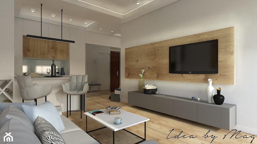 Apartament dla dwojga. - Średni biały salon z kuchnią z jadalnią, styl nowoczesny - zdjęcie od Idea by Mag.