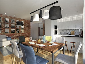 Ceglane wnętrze. - Średnia otwarta biała jadalnia w kuchni w salonie, styl rustykalny - zdjęcie od Idea by Mag.