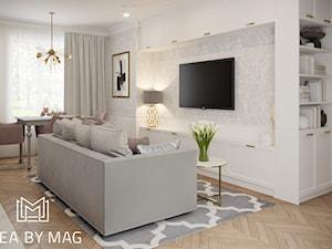 Pastelowa elegancja - Średni szary biały salon z jadalnią, styl nowojorski - zdjęcie od Idea by Mag.