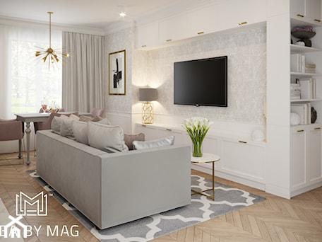 Aranżacje wnętrz - Salon: Pastelowa elegancja - Średni szary biały salon z jadalnią, styl nowojorski - Idea by Mag.. Przeglądaj, dodawaj i zapisuj najlepsze zdjęcia, pomysły i inspiracje designerskie. W bazie mamy już prawie milion fotografii!