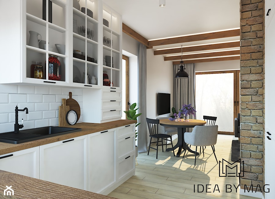 Sielski klimat - Średnia otwarta biała kuchnia w kształcie litery u z wyspą, styl rustykalny - zdjęcie od Idea by Mag.