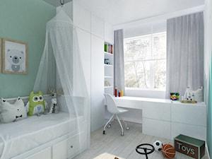 Nadmorskie klimaty - Średni biały zielony pokój dziecka dla chłopca dla dziewczynki dla ucznia dla malucha, styl skandynawski - zdjęcie od Idea by Mag.