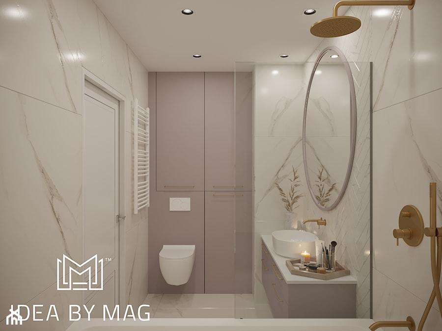 Kobiece wnętrze - Średnia biała szara łazienka w bloku w domu jednorodzinnym bez okna, styl klasyczny - zdjęcie od Idea by Mag.