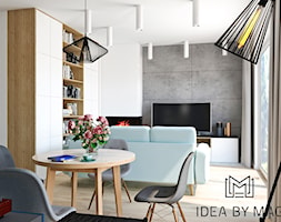 Segment. - Mały szary biały salon z jadalnią, styl skandynawski - zdjęcie od Idea by Mag.