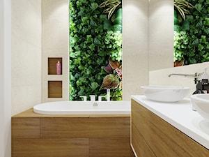Port Praski - Średnia beżowa zielona łazienka w bloku w domu jednorodzinnym jako salon kąpielowy bez okna, styl nowoczesny - zdjęcie od Idea by Mag.