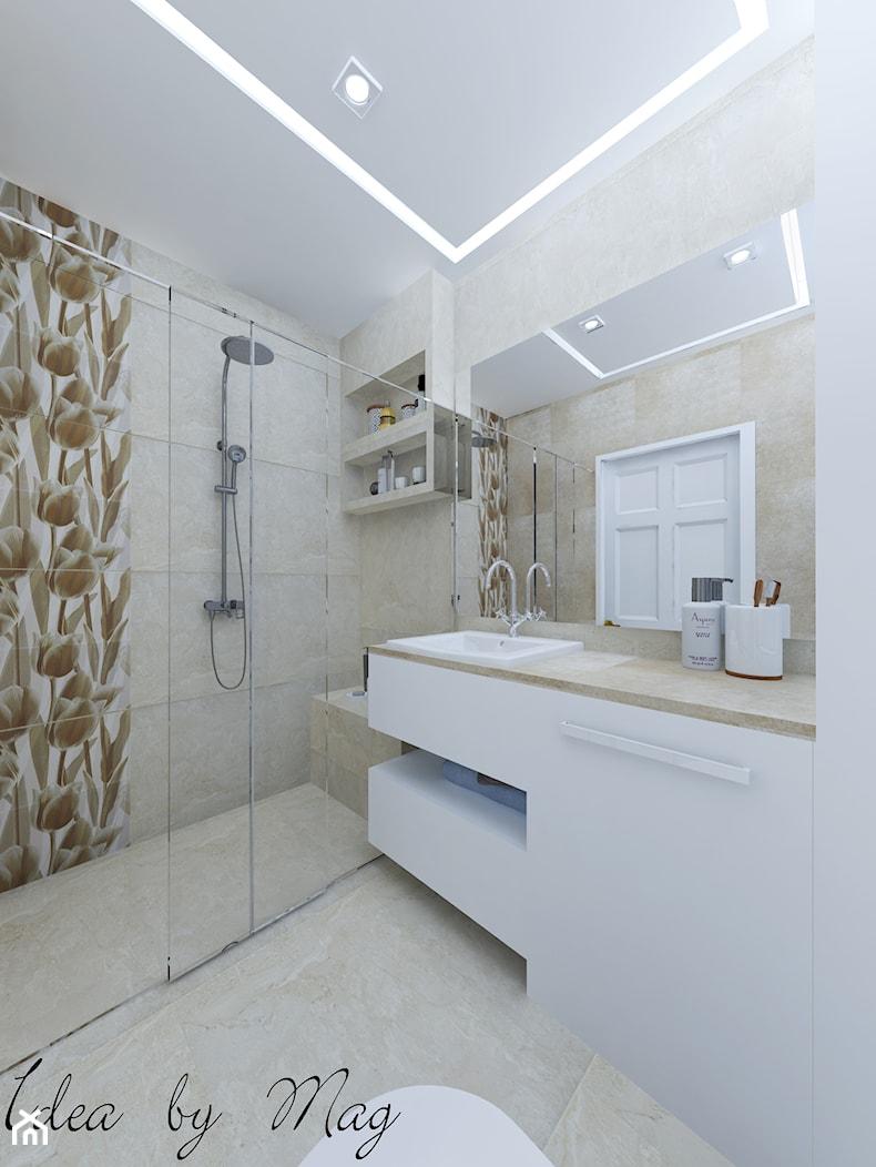 Kobiece wnętrze. - Średnia beżowa łazienka w bloku w domu jednorodzinnym bez okna, styl klasyczny - zdjęcie od Idea by Mag. - Homebook