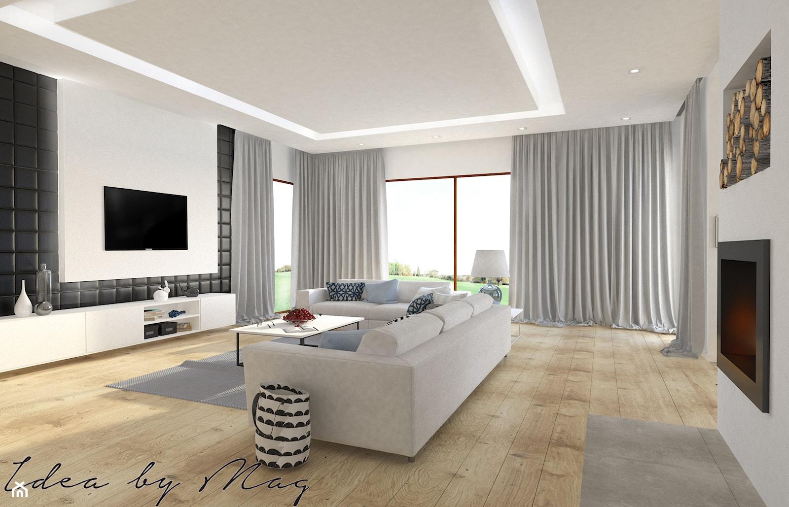 Dom parterowy. - Duży beżowy salon, styl nowoczesny - zdjęcie od Idea by Mag. - Homebook