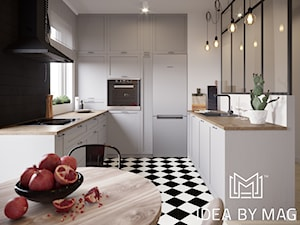 Klasyczny loft - Średnia zamknięta biała czarna kuchnia w kształcie litery u z oknem, styl industrialny - zdjęcie od Idea by Mag.