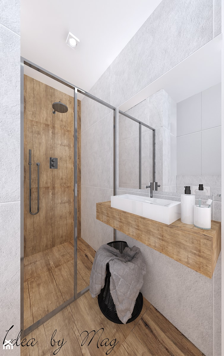 Ceglane wnętrze. - Mała łazienka jako salon kąpielowy bez okna, styl rustykalny - zdjęcie od Idea by Mag.
