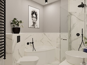 Projekt segmentu w klasycznym stylu - Średnia biała szara łazienka bez okna, styl klasyczny - zdjęcie od Idea by Mag.