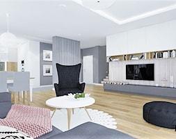 Dom Sadkowice - Duży szary beżowy salon z bibiloteczką z kuchnią z jadalnią, styl nowoczesny - zdjęcie od Klaudia Tworo Projektowanie Wnętrz