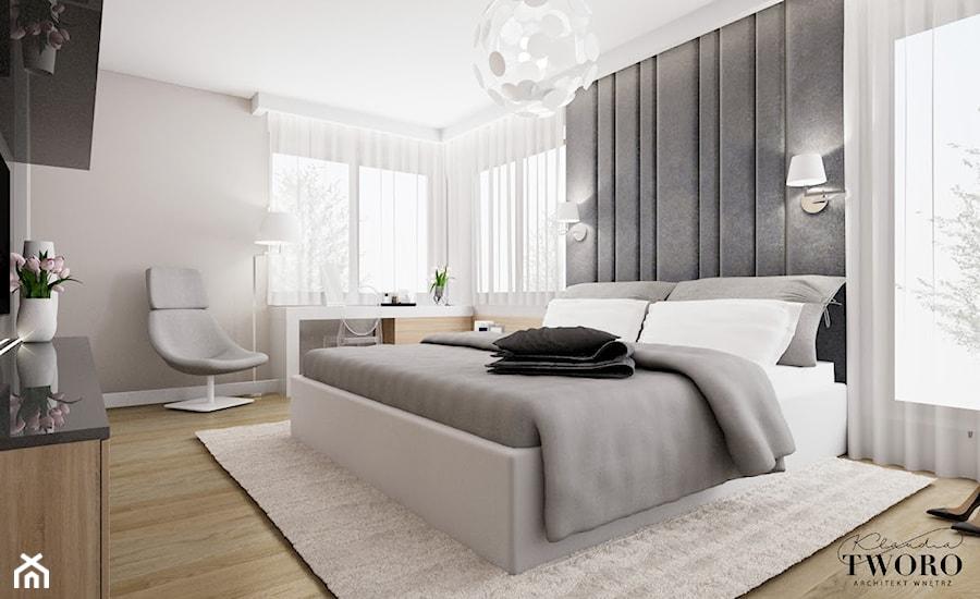 Dom w Ksawerowie - Średnia biała szara sypialnia małżeńska, styl nowoczesny - zdjęcie od Klaudia Tworo Projektowanie Wnętrz