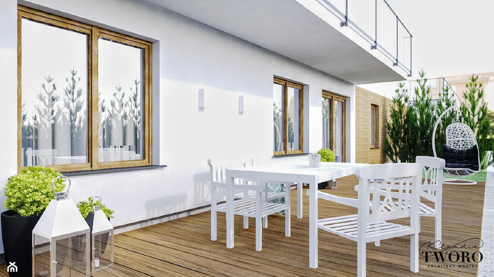 Mieszkanie_2 - Średni taras z tyłu domu - zdjęcie od Klaudia Tworo Projektowanie Wnętrz - Homebook