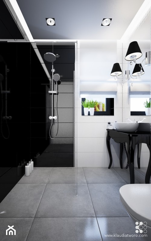 DOM Z BAMBUSAMI - Średnia biała czarna łazienka w bloku w domu jednorodzinnym z oknem, styl nowoczesny - zdjęcie od Klaudia Tworo Projektowanie Wnętrz - Homebook
