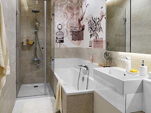 Żoliborz Artystyczny - Średnia beżowa łazienka na poddaszu w bloku w domu jednorodzinnym bez okna - zdjęcie od Klaudia Tworo Projektowanie Wnętrz