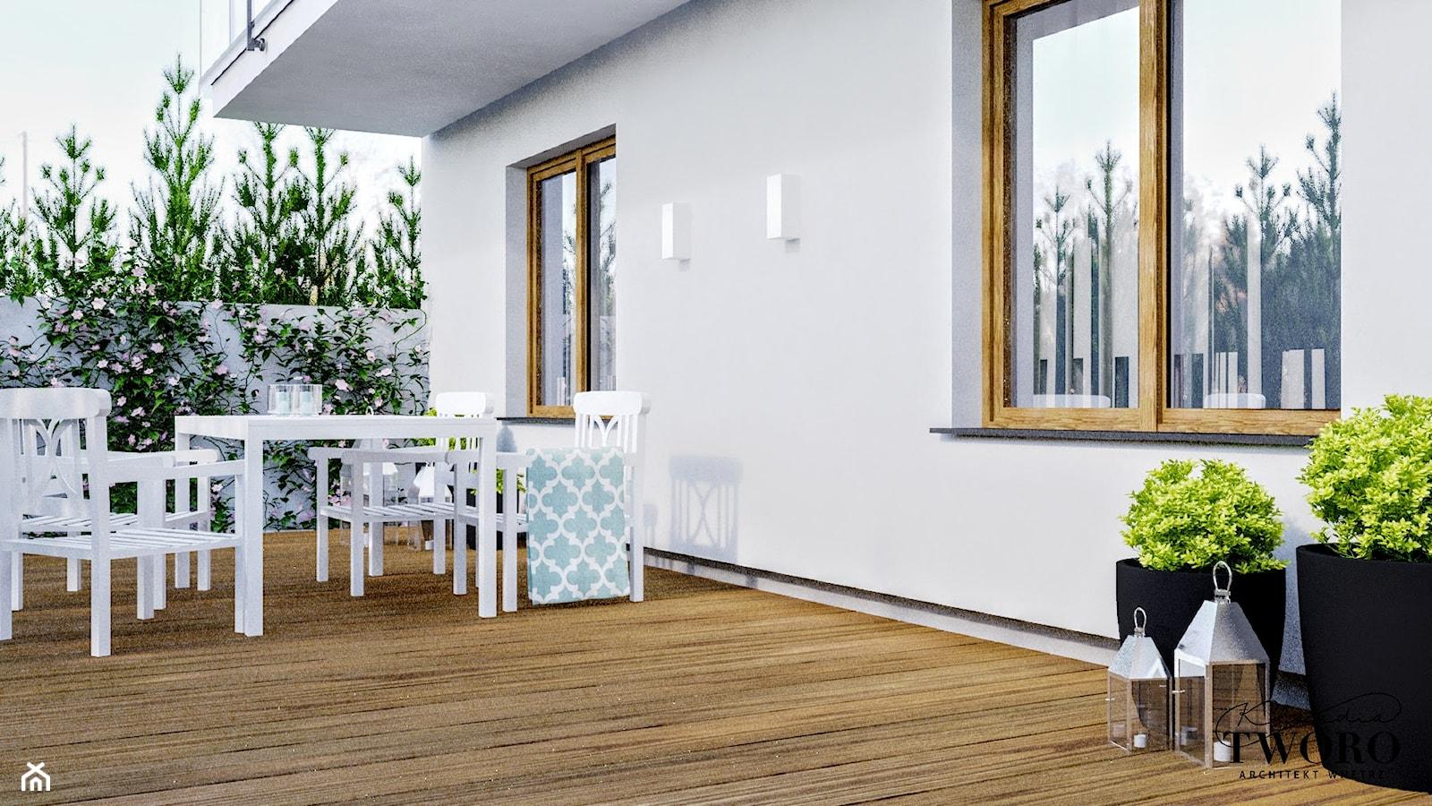 Mieszkanie_2 - Duży taras z tyłu domu - zdjęcie od Klaudia Tworo Projektowanie Wnętrz - Homebook