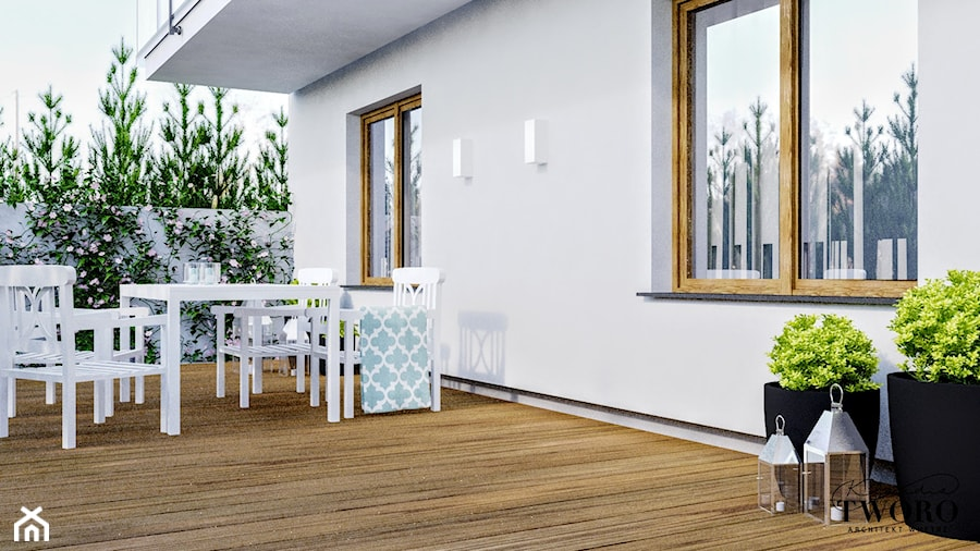Mieszkanie_2 - Duży taras z tyłu domu - zdjęcie od Klaudia Tworo Projektowanie Wnętrz