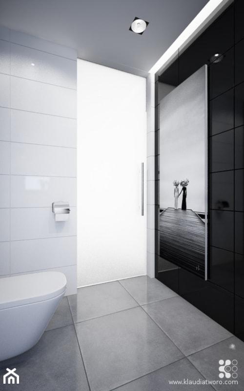 DOM Z BAMBUSAMI - Mała biała czarna łazienka w bloku w domu jednorodzinnym bez okna, styl nowoczesny - zdjęcie od Klaudia Tworo Projektowanie Wnętrz - Homebook