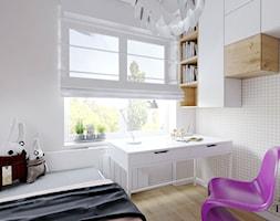Mieszkanie w Konstantynowie Łódzkim - Mały biały szary pokój dziecka dla chłopca dla dziewczynki dla ucznia dla nastolatka, styl nowoczesny - zdjęcie od Klaudia Tworo Projektowanie Wnętrz