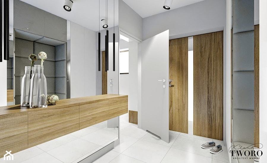 Dom w Ksawerowie - Mały szary hol / przedpokój, styl nowoczesny - zdjęcie od Klaudia Tworo Projektowanie Wnętrz