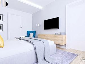 Dom Domiechowice - Średnia biała szara sypialnia dla gości - zdjęcie od Klaudia Tworo Projektowanie Wnętrz