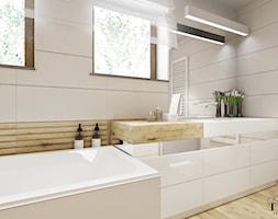 Dom w Ksawerowie - Średnia beżowa łazienka na poddaszu w domu jednorodzinnym z oknem, styl nowoczesny - zdjęcie od Klaudia Tworo Projektowanie Wnętrz
