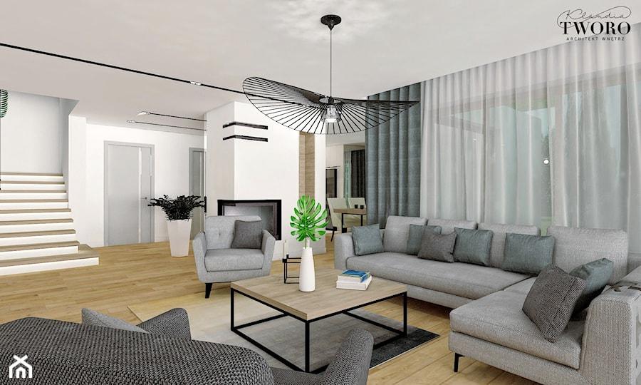 Dom w Ksawerowie - Duży biały salon, styl nowoczesny - zdjęcie od Klaudia Tworo Projektowanie Wnętrz