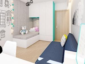Pokój rodzeństwa – turkus - Mały biały szary pokój dziecka dla chłopca dla dziewczynki dla ucznia dla malucha dla nastolatka, styl nowoczesny - zdjęcie od Klaudia Tworo Projektowanie Wnętrz
