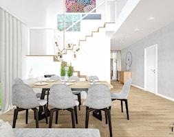Dom w Jarocinie - Mały szary biały salon z jadalnią, styl nowoczesny - zdjęcie od Klaudia Tworo Projektowanie Wnętrz