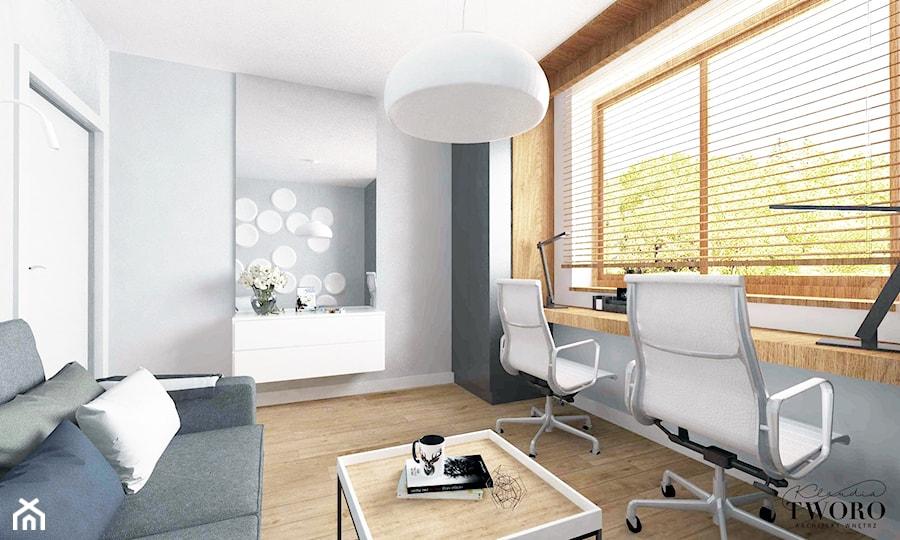 Dom w Ksawerowie - Średnie szare białe biuro domowe kącik do pracy w pokoju, styl nowoczesny - zdjęcie od Klaudia Tworo Projektowanie Wnętrz